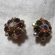 Topaz Colored Rhinestone Clip Earrings