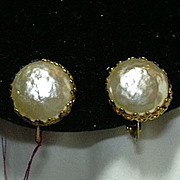 Old Miriam Haskell Faux Baroque Pearl Clip Earrings Signed