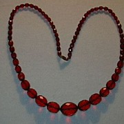 Vintage Cherry Amber Graduated Beads Necklace Jewelry
