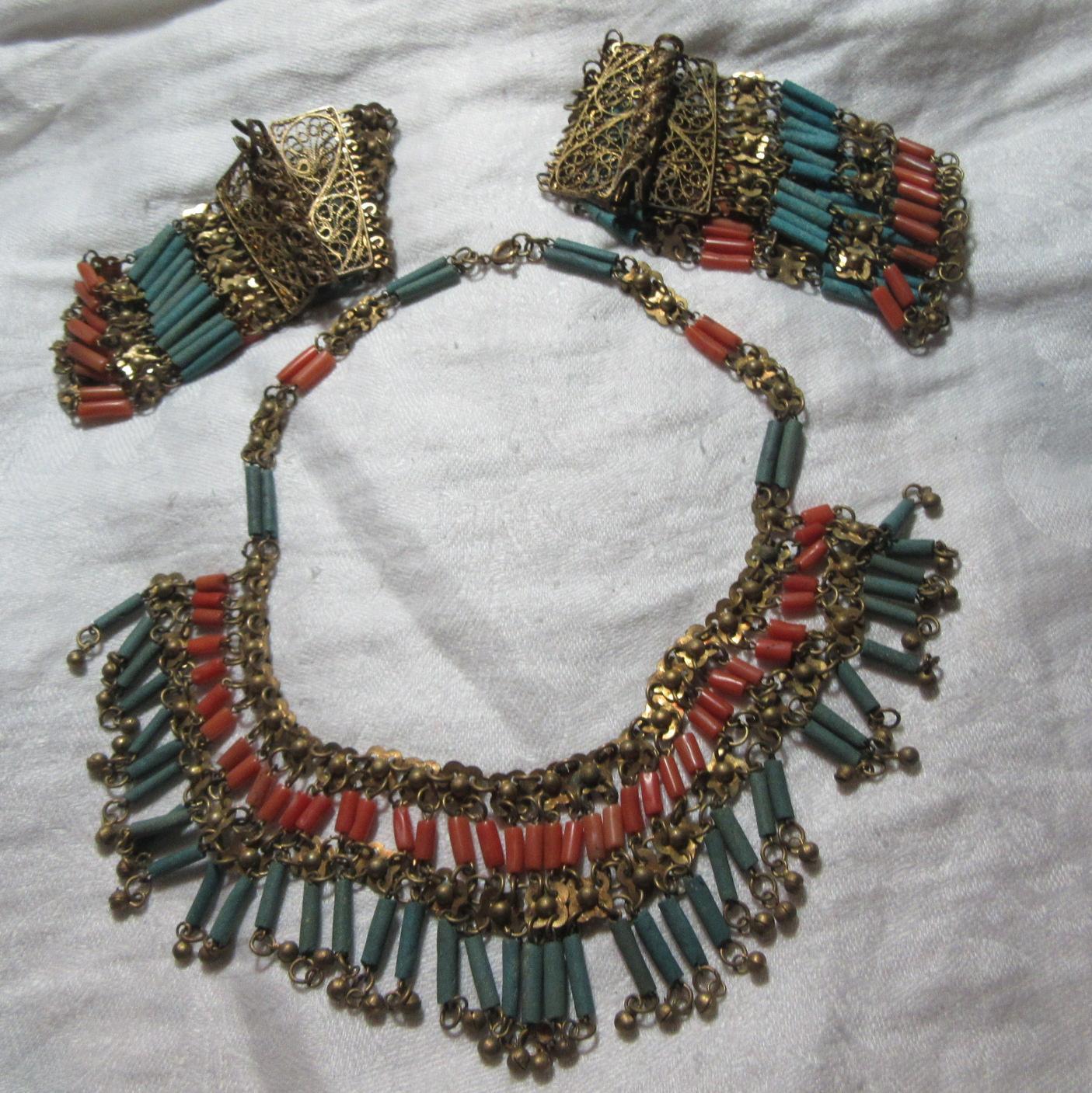 Rare Vintage Egyptian Revival Necklace and 2 Bracelets Set Jewelry