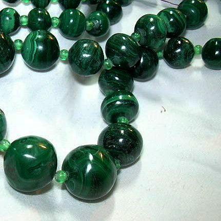 Vintage Malachite Beads Necklace