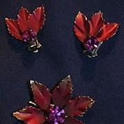Coro Rose & Pink Flower Brooch PIn & Clip Earrings Set Fine Signed Designer Costume Jewelry