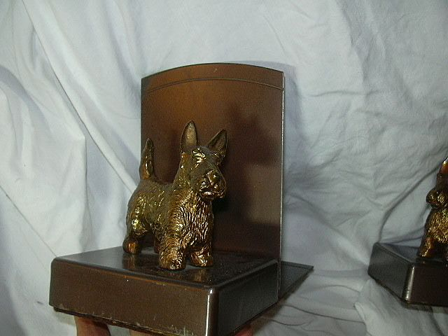 Old Scottish Terrier Scottie Metal Bookends
