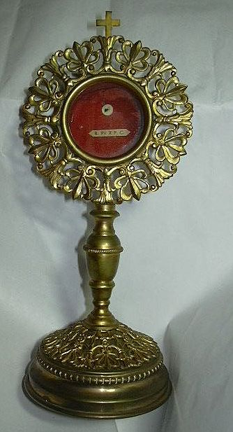 St Pius X Reliquary On Stand Monstrance Style