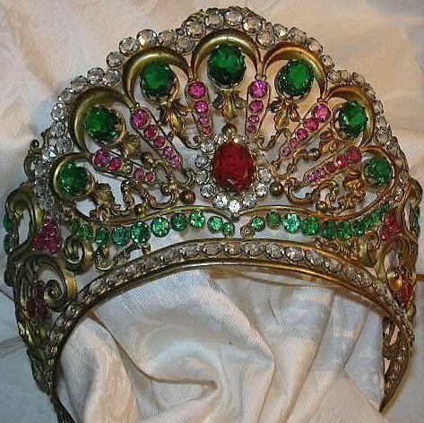 Old Italian Jeweled Crown For Santo Saint Virgin Mary Statue