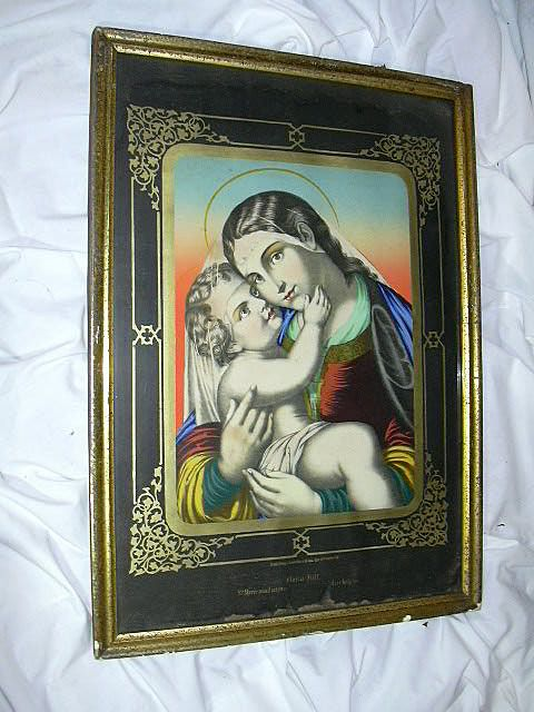 Rare Old German Madonna & Infant Jesus Print Ste Marie Auxiliatrice St Mary Help Us