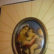 Hand Painted Or Embellished Madonna Of The Table Miniature Old Frame