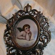 Hand Painted Cherub Angel Porcelain Framed Art