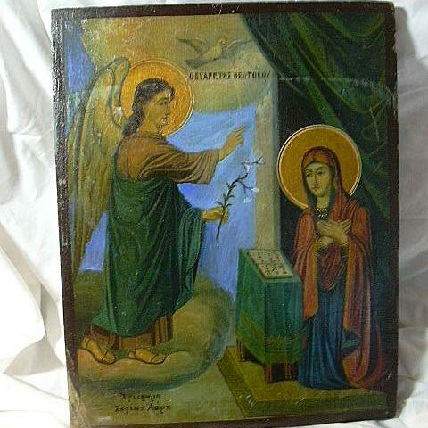 Old Folk Art Greek Orthodox Icon Painted On Wood Annunciation