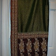 Vintage Indian Sari Emerald Green Maroon & Gold Bullion Embroidery Fine Textiles Fabric of India