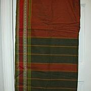 Vintage Indian Sari Maroon & Saffron Plaid Cotton Fine Textiles Fabric of India