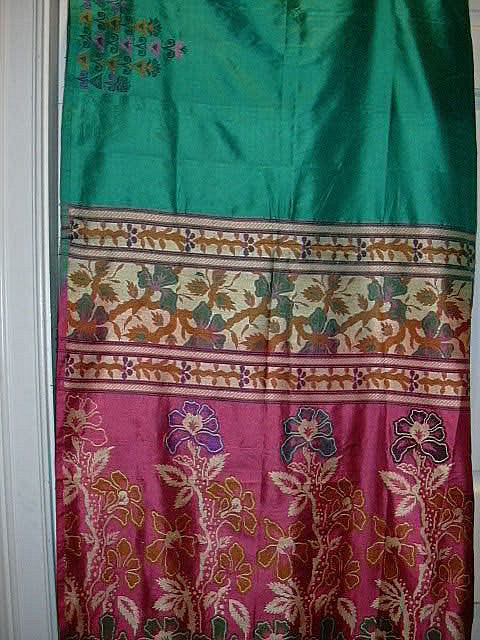 Vintage Indian Sari Teal Green Silk Fine Textiles Fabric