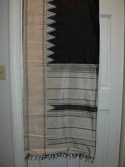 Vintage Indian Sari Black Silk & Ikat Temple Borders Fine Textiles Fabric of India