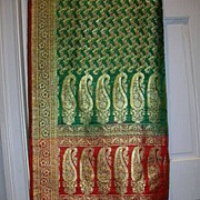 Vintage Indian Double Reversible Sari Red Green Fine Textiles Fabric of India