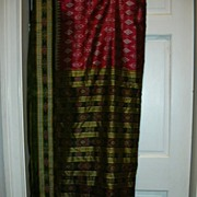 Vintage Indian Sari Fuschia Wine & Green Fine Textiles Fabric of India