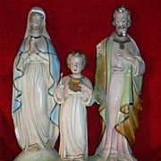Holy Family Large Chalk Ware Statue Fine Catholic Christian Religious Figurine Statuary