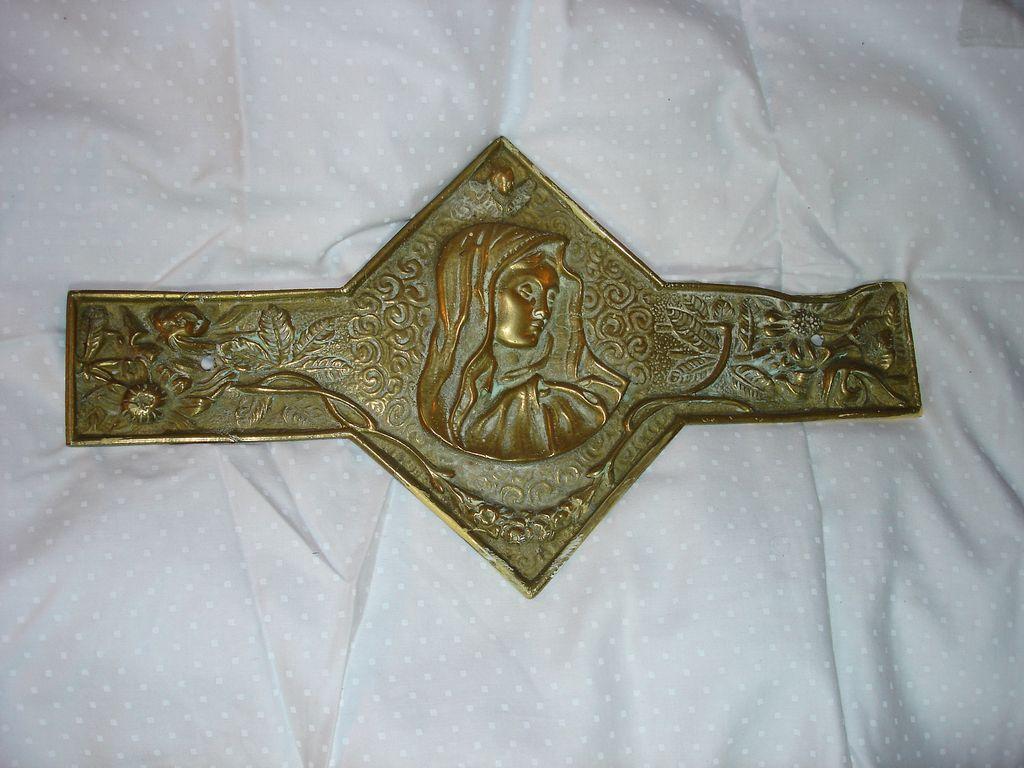 Virgin Mary Mater Dolorosa Brass Plaque  Decoration
