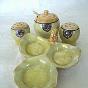 Japanese Luster  Ware Condiment Set with Elephant  Mark