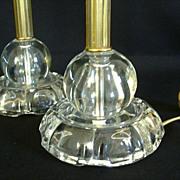 Pair Tall Vintage Crystal Bedroom Lamps