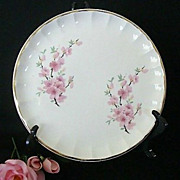 Fluted Bolero Plate Features Pink Cherry Blossoms