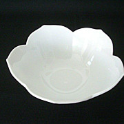 SALE White Milk Glass Small Bowl With Petaled Edge
