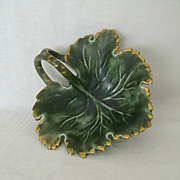Green Leaf Ceramic Dish With Gold Accents