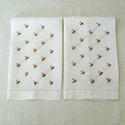 SALE Pair Embroidered Guest Towels Tiny Pink Flowers