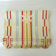 SALE Mid-Century Tri-color Jacquard Woven Table Scarf
