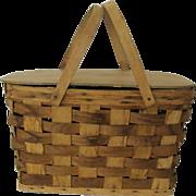 SALE Woven Bent Wood Handled Picnic Basket