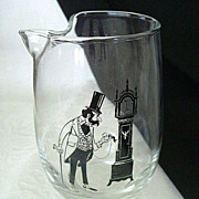 Whimsical Libbey Pitcher Features Grandfather Checking Grandfather Clock
