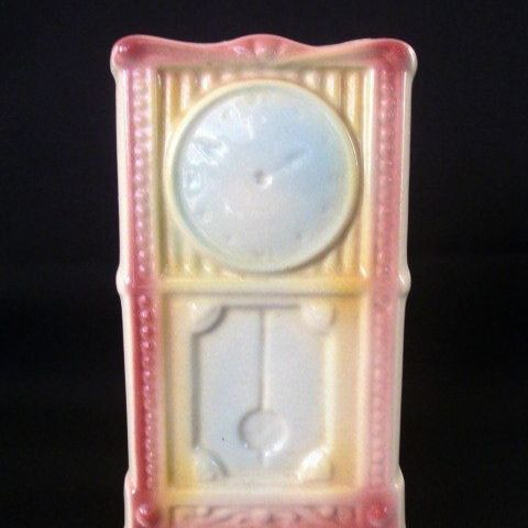 American Bisque Whimsical Grandfather Clock Wall Pocket Or Planter