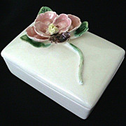 Ceramic Cigarette Box With Pretty Raised Flower - 1950's