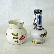 Moss Rose Table Lighter and Bavarian Small Vase