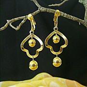 Gold-Tone Dangle Dimestore Earrings - 1950's