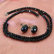Black Jet Choker And Matching Earrings