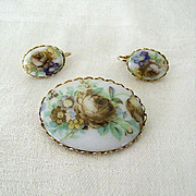 Floral Brooch Pin With Matching Earrings