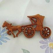 Uncas 1942 Plastic Horse & Buggy Pin - Barbieri Designer