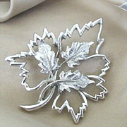 Beautifully Detailed Emmons Silver-Tone Leaf Pin