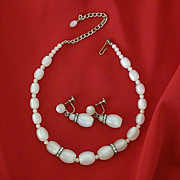Lucite Moonglow Set With Rhinestone Rondels