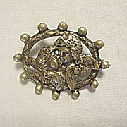 Jewelry  Antique Victorian Coin Silver Brooch / Pin with Two Angels