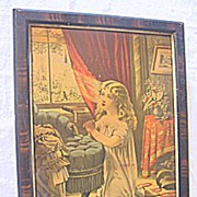 Antique Victorian Print of Sweet Young Girl Kneeling and Praying at her Bedroom Window Morning Prayer