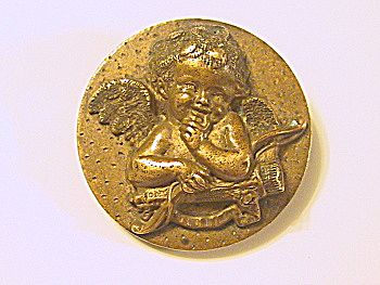 Antique Bronze Cupid Pin / Brooch Valentine's Day