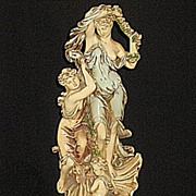 Shapely Art Nouveau Statue  2 Ladies  and  Child  with Shell Pedestal Base
