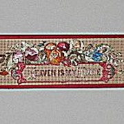 Heaven Is My Home  Bookmark   Religious and  Floral Antique Punch Paper Motto with  Original Silk Ribbon