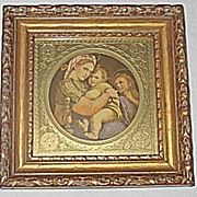 Madonna Della Sedia  Italian Religious Print  Madonna Baby Jesus  St John The Baptist  Famous Artist  Raphael Santi