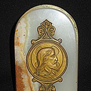 Antique Religious Brass Medallion of Jesus on Onyx Plaque with Stand for Tabletop Display