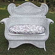 Ornate Antique Victorian Wicker Settee