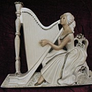Lady with Harp Large Chalkware Hanging Plaque
