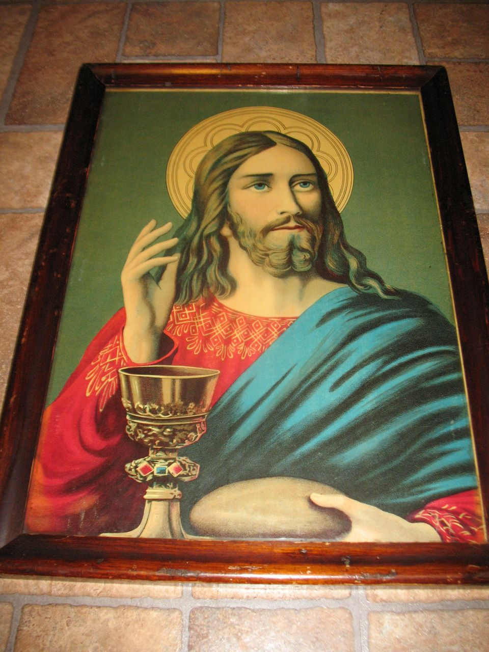 Antique Victorian Lithograph Christ Blessing Bread and Wine