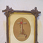 Antique Victorian Punch Paper Sampler of Cross w/ Needlepoint & Beads